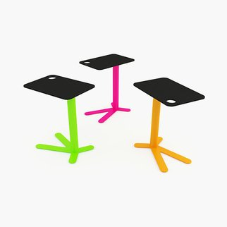 Muzo's brightly colored, fixed height Space Chicken side table range