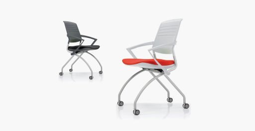 Two Switch nesting chairs with armrests and dual locking jewel casters