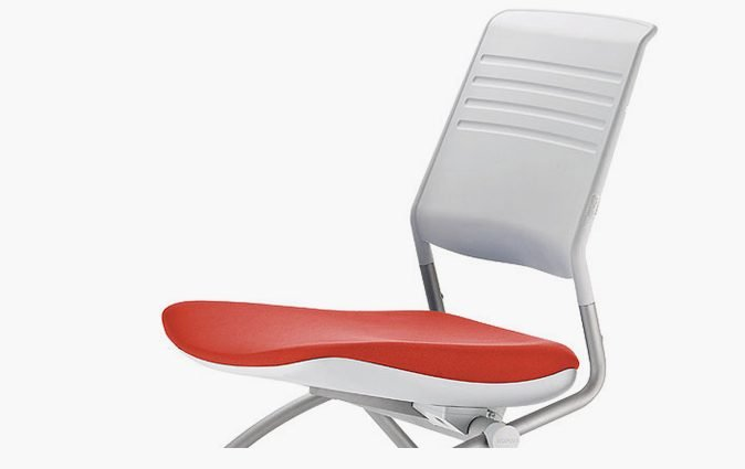 Switch nesting, mobile chair pictured in white with red seat
