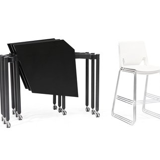 Portable, stand and meet Tall Kite nesting tables in folded position
