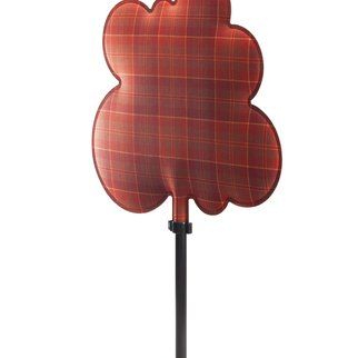 Woodland sound absorbing room divider in red tartan