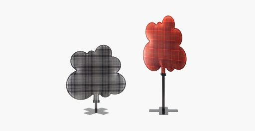 Two Muzo Woodland sound absorbing divider shown in grey and red plaid designs