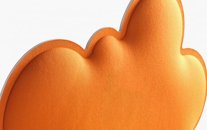 Close up of an orange Muzo Woodland space and acoustics divider