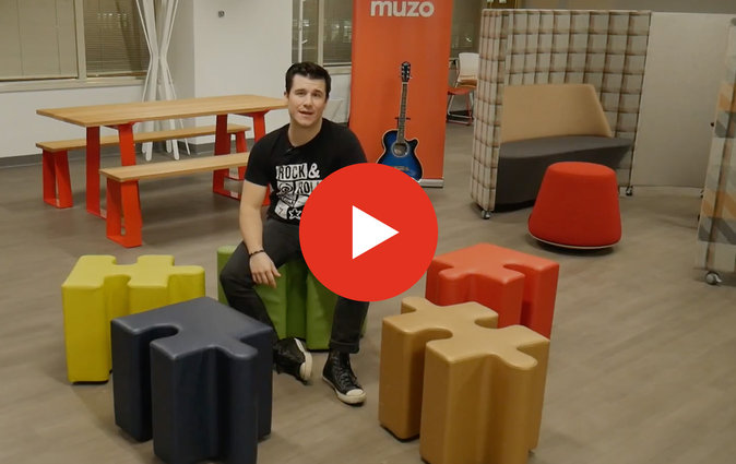Man in Muzo office with Puzzle seating