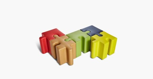 Puzzle seating joined in various colors