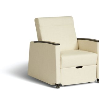 Muzo's Remedy nursing chair shown at an angle in the seated position