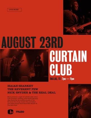 Poster for Muzo's Curtain Club live music event in Dallas, Texas