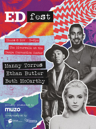 Promotional poster for Muzo's EDfest event in Florida