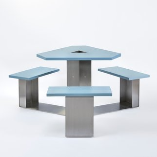Muzo's Alfresco Mini tri-frame table with sky blue table top and benches