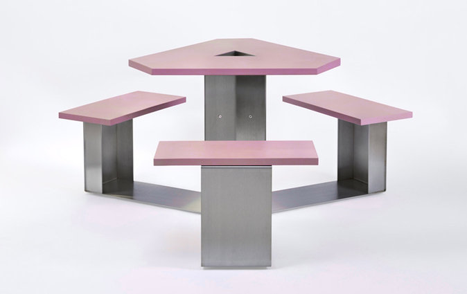 Muzo's Alfresco Mini tri-frame table with pink table top and benches