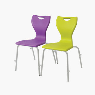 The MBob chair shown in purple and lime green