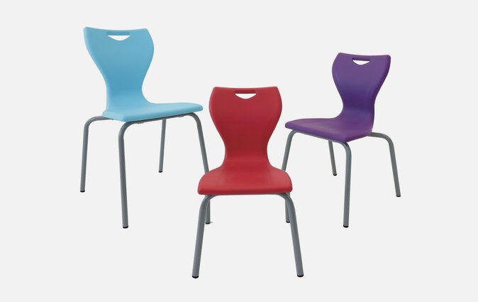 The MBob chair shown in sky blue, cherry red and velvet purple