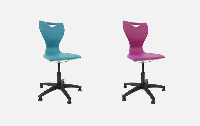 The MBob adjustable swivel chair in sky blue and fuchsia pink