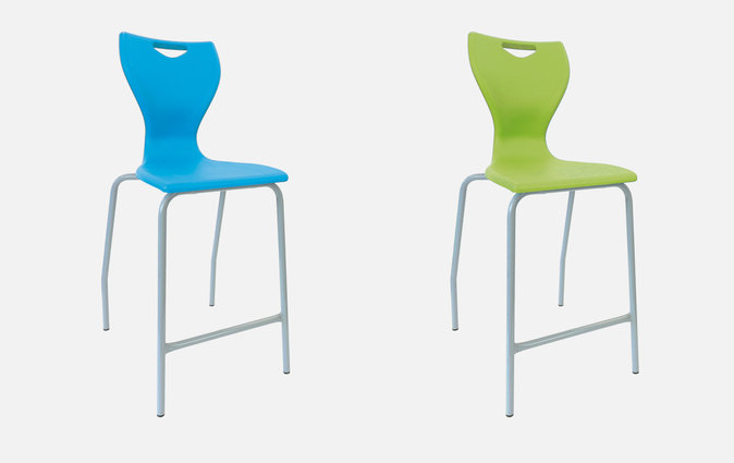 The MBob stool in sky blue and lime green