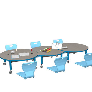 Super Low Versatilis with light blue chairs