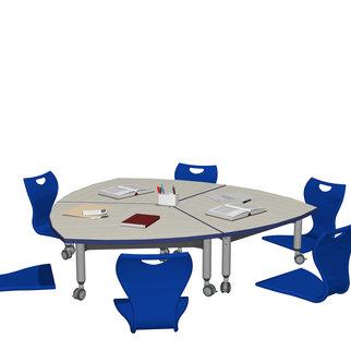 Super Low Versatilis with blue floor chairs