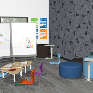 Artist's impression of classroom with Super Low Versatilis table