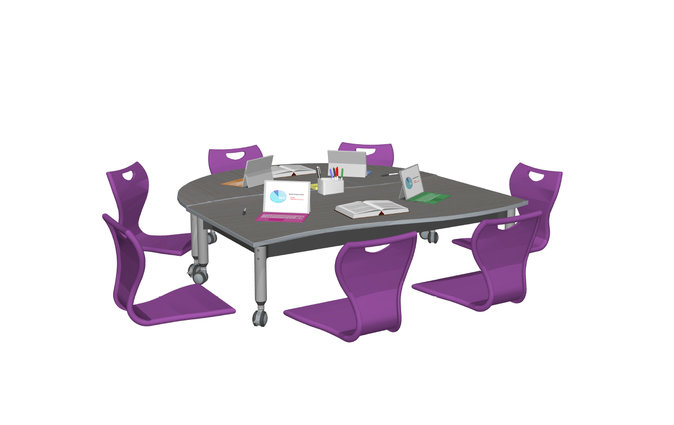 Super Low Versatilis arrangement with chairs and grey top