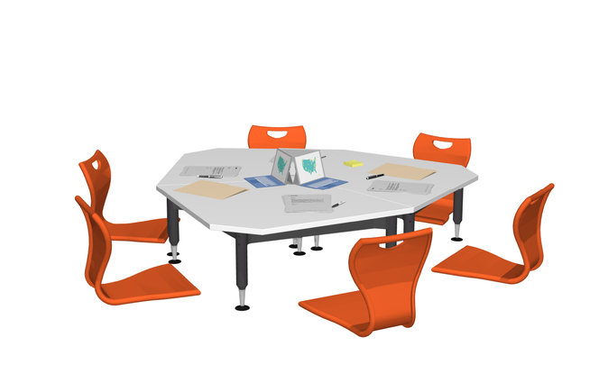 Super Low Versatilis table with red chairs