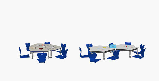 Two Super Low Versatilis tables with blue floor chairs