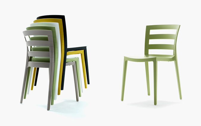Muzo Town chairs stacked and as a single product