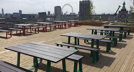 Edge industrial tables and bench furnish London rooftop