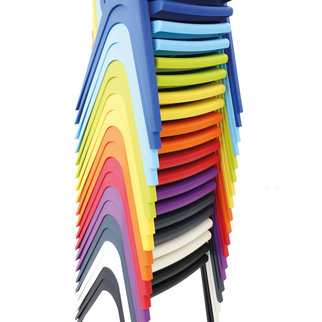 K-seat chairs in various colors stacked
