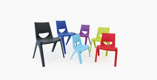 A collection of K-seat classroom chairs in various colors
