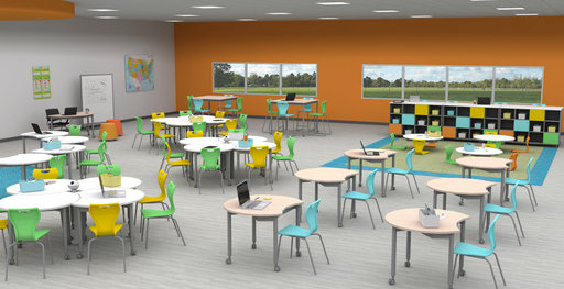 An artist's impression of a Muzo furnished K12 classroom