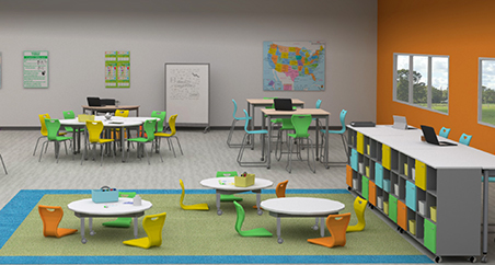 Muzo furniture used in a K12 classroom