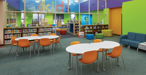 A library furnished with Muzo furniture