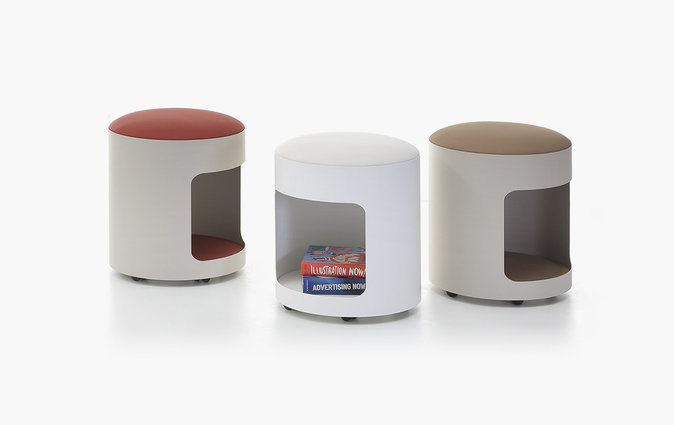 R2 storage stool with various upholstered seats