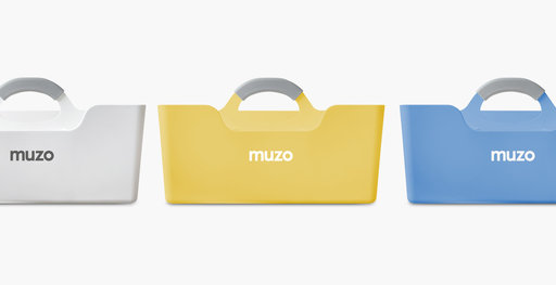 The Muzo Stashbox tool box in white, yellow and blue