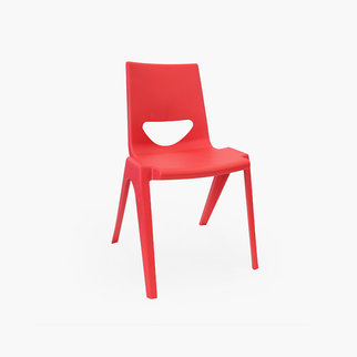 A red K-seat stackable chair