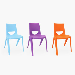 K-seat classroom chairs in blue, purple and orange
