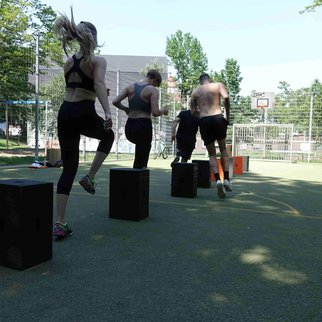 Fitness enthusiasts get active during an Xbrick workout